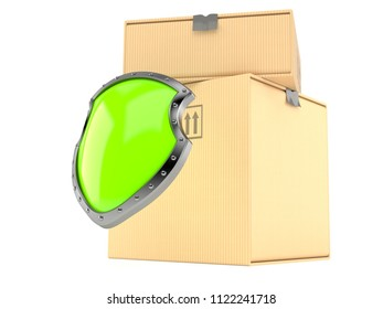 Packages with protective shield isolated on white background. 3d illustration