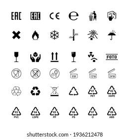 Packaging label cargo isolated symbols set.