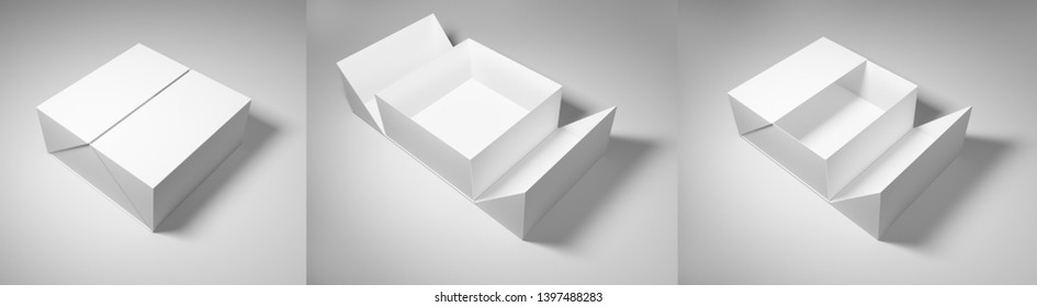 Packaging mockups rectangular, square, for design or branding. 3