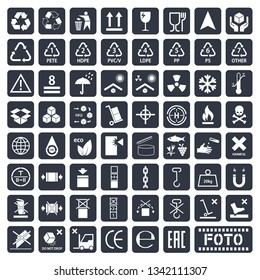 Packaging symbols set, cargo icons