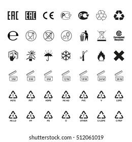 Packaging symbols set. Icons on packaging. Raster version