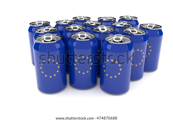 Packaging Waste In The European Union: EU flag Aluminum Cans Isolated On A White Background, 3d illustration