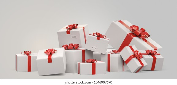 packed gifts. festive postal packages 3d-illustration