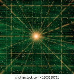 Packets of data flowing through a green conceptual cyberspace