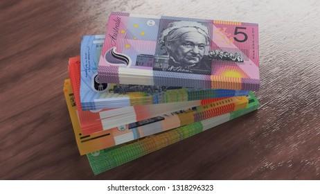 Packs of money. Five, ten, twenty, fifty, hundred australian dollar banknotes on the wooden floor. 5,10, 20, 50, 100 australian cash currency 3D illustration, depth of field.