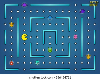 Pacman like video arcade game with ghosts, labyrinth and user interface . Retro game with cartoon monster illustration.