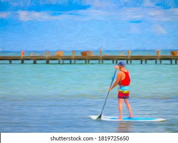 Paddleboarder in his thirties or forties heads out to sea near pelicans on a pier along a barrier island in west central Florida, with digital oil-painting effect. 3D rendering.