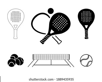 Padel tennis icon set in black and white