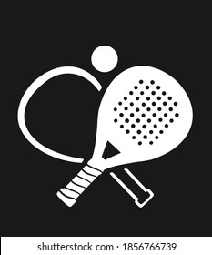 Padel tennis logo, banner or poster. contrast icon on black background