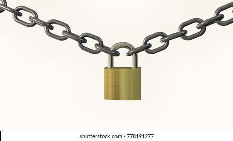 Padlock and chain 3D illustration