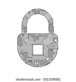 padlock circuit on white
