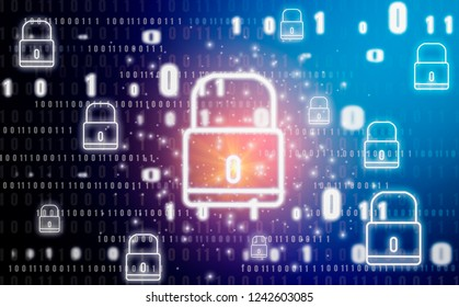Padlock graphic and symbol, abstract concept With Technology protection of digital identity theft and privacy, Online database and cyber security.