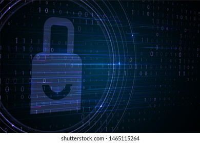 Padlock icon with binary code background. Password and data privacy protection in internet, data transfer concepts. Graphic concept for your design.