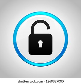 Padlock open icon isolated on round blue push button