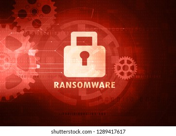 padlock symbol with word ransomware
