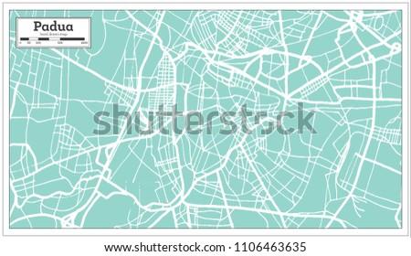 Padua Italy City Map Retro Style Stock Illustration 1106463635