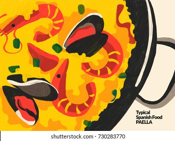 Paella. Spanish typical food. Illustration depicting a typical Spanish rice paella with seafood. Traditional Spanish Mediterranean food, dishes and recipes. Colorful conceptual illustration.
