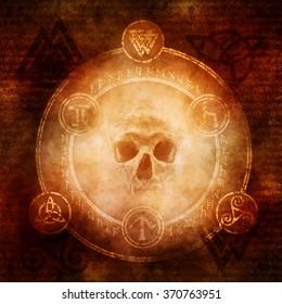 Pagan Dark Magic design with a sinister skull materialising within a magic circle of elaborate pagan and runic symbols.