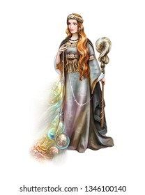 Pagan Goddess of Destiny with a spinning wheel and a thread of Life, Scandinavian and Slavic mythology, ancient gods, a beautiful witch, a world of magic, an isolated character on a white background
