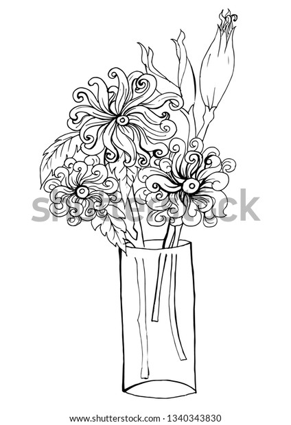 Page Coloring Book Flowers Vase Doodles Stock Illustration 1340343830