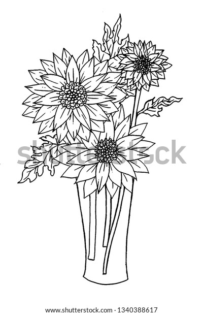 Page Coloring Book Flowers Vase Doodles Stock Illustration 1340388617
