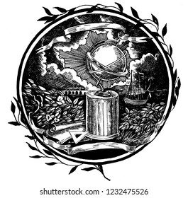 Page decor design element  for book. ink/pen. The illustration symbolizes the globe and travel.