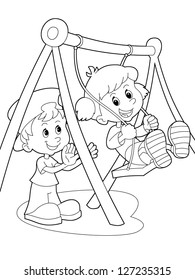 Colouring Pages Coloring book Seesaw Playground Game, seesaw, game ...   280x195