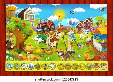 The page with exercises for kids - farm - illustration for the children