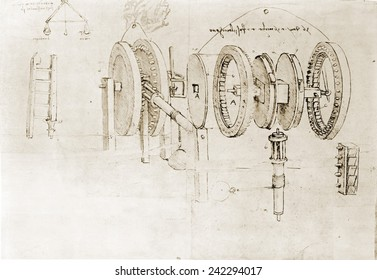 Page from the notebooks of Leonardo da Vinci (1452-1519) showing a geared device disassembled. Ca. 1500.