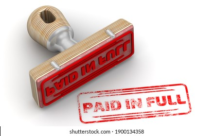 Paid in full. The stamp and an imprint. Wooden stamp and red imprint PAID IN FULL on white surface. 3D illustration