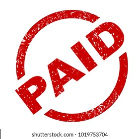 A paid red ink stamp over a white background