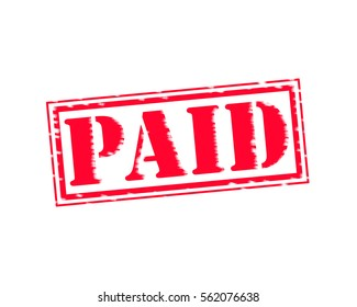 PAID RED Stamp Text on white backgroud
