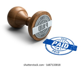 Paid stamp. Wooden round stamper and stamp with text Paid on white background. 3d illustration. rubber stamp.