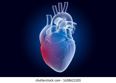 Pain in Heart concept. Ghost light effect, x-ray hologram. 3D rendering on dark blue background