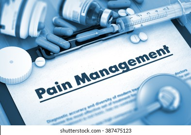 Pain Management, Medical Concept with Selective Focus. Pain Management on Background of Medicaments Composition - Pills, Injections and Syringe. 3D Render.