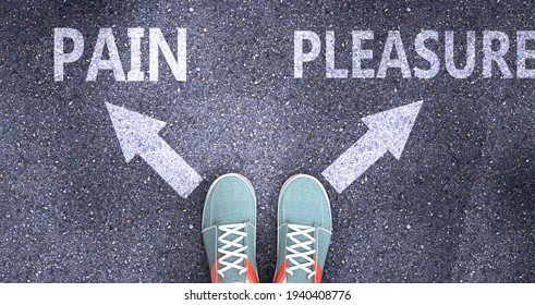 Pain and pleasure as different choices in life - pictured as words Pain, pleasure on a road to symbolize making decision and picking either Pain or pleasure as an option, 3d illustration