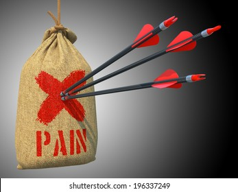 Pain - Three Arrows Hit in Red Mark Target on a Hanging Sack on Grey Background.