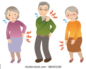"Painful elderly people ""pain of hip and shoulder and knee"""