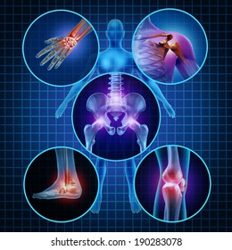 Painful joints human anatomy concept with the body as a group of circular panels of sore areas as an arthritis illness symbol for health care and medical symptoms due to aging sports and work injury.
