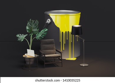 Paint bucket with spilled paint next to modern furniture. 3d rendering.