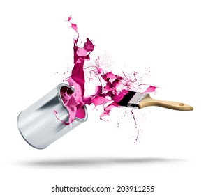 Paint can and brush fall bursting pink red color splash