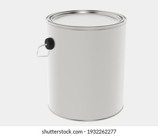 Paint can isolated on grey background. 3d rendering - illustration