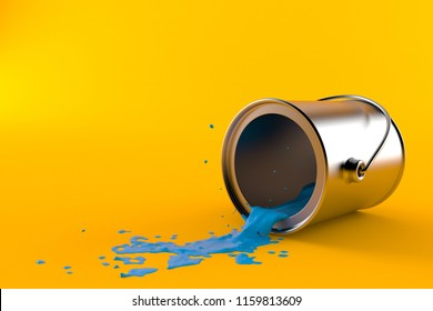 Paint can isolated on orange background. 3d illustration