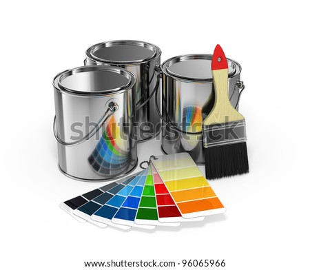 Royalty Free Stock Illustration Of Paint Cans Brush Pantone Color