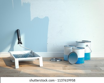 Paint cans and paint roller brush near light blue walls, 2 cans are opened, 1 is closed, 3d rendering