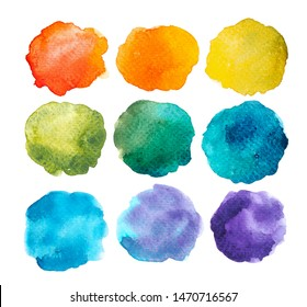 Paint a circle of watercolor for the text message background. Colorful splashing in the paper. It is wet texture from brushes. Picture for creative wallpaper or design art work.