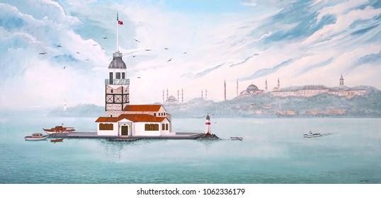 Paint of Kiz Kulesi or Maiden's Tower in Istanbul - TURKEY.  Acrylic paint on wall 275cmx130cm.  ( Artist: Hayati Kayhan )