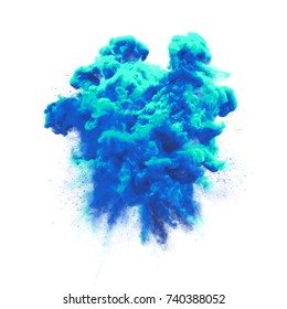 Paint powder or blue color liquid splash with dust glitter smoke explosion isolated on white background. Particular fluid haze effect of magic texture for fashion glamor cosmetic background