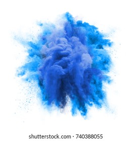 Paint powder explosion or abstract color splash of blue particles burst isolated on white background. Abstract color glitter explode with glowing shimmer texture effect for cosmetic background