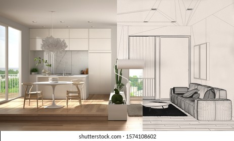 Paint roller painting interior design blueprint sketch background while the space becomes real showing modern kitchen. Before and after concept, architect designer creative work flow, 3d illustration